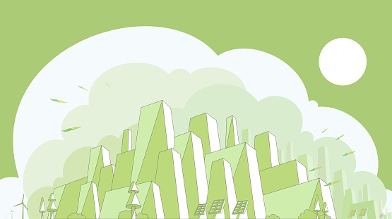 City appearance with green tone vector illustration graphic EPS10