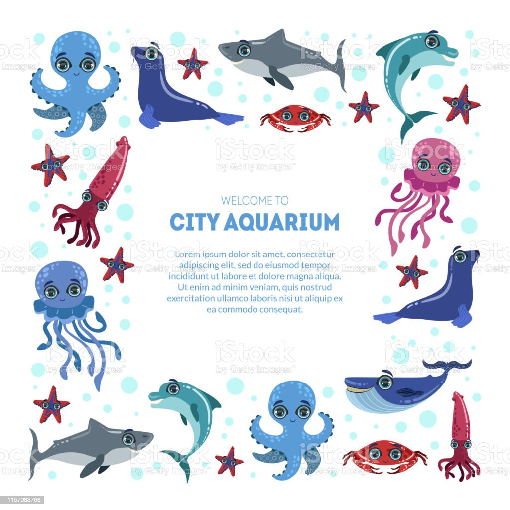City Aquarium Exhibition Banner Template Flyer Poster