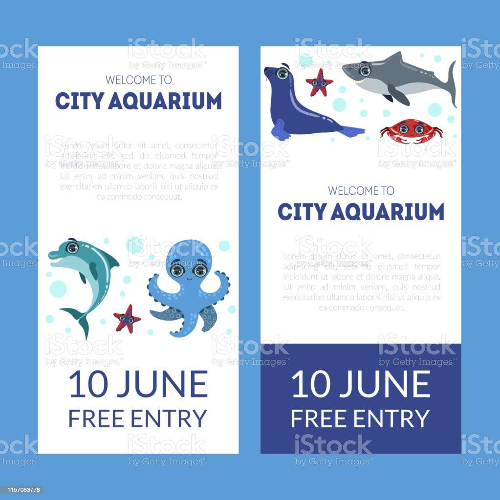 City Aquarium Exhibition Banner Templates Set Flyer Poster
