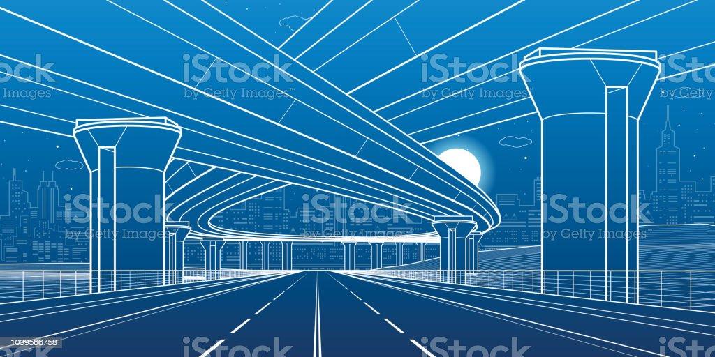 Ilustração de arquitetura e infraestrutura de cidade, viaduto automotivo, grandes pontes, cena urbana. Cidade de noite. Linhas brancas sobre fundo azul. Arte de desenho vetorial - ilustração de arte em vetor