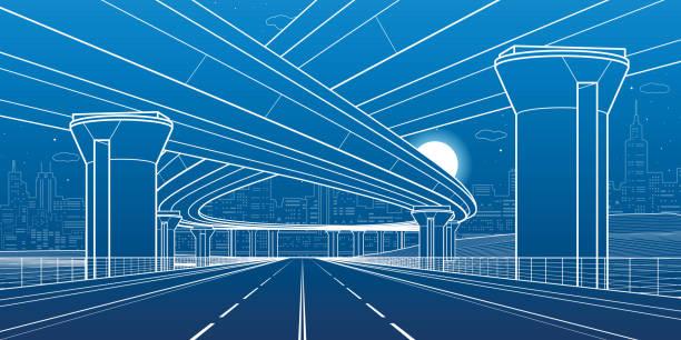 Viaduc d'illustration architecture et infrastructure ville, automobile, grands ponts, scène urbaine. Ville de la nuit. Lignes blanches sur fond bleu. Art de dessin vectoriel - Illustration vectorielle
