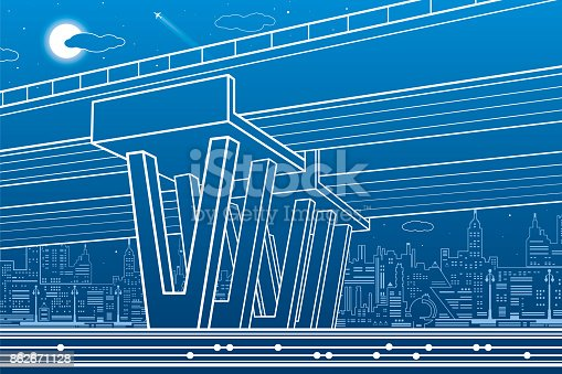 City architecture and infrastructure illustration automotive city architecture and infrastructure illustration automotive overpass big bridge urban scene night town white lines on blue background vector design art malvernweather Gallery