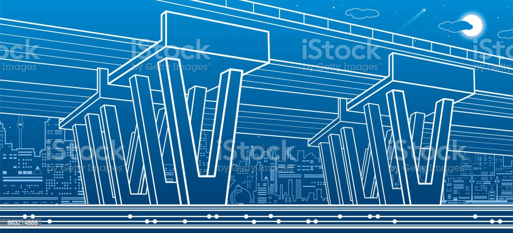 City architecture and infrastructure illustration automotive city architecture and infrastructure illustration automotive overpass big bridge urban scene night malvernweather Choice Image