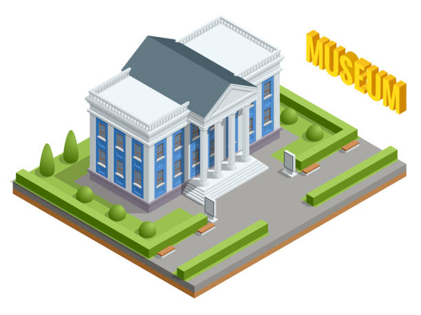 illustrations, cliparts, dessins animés et icônes de bâtiment de gouvernement populaire d'architecture ville. bâtiment du musée isométrique. extérieur du bâtiment du musée avec le titre et les colonnes. - museum