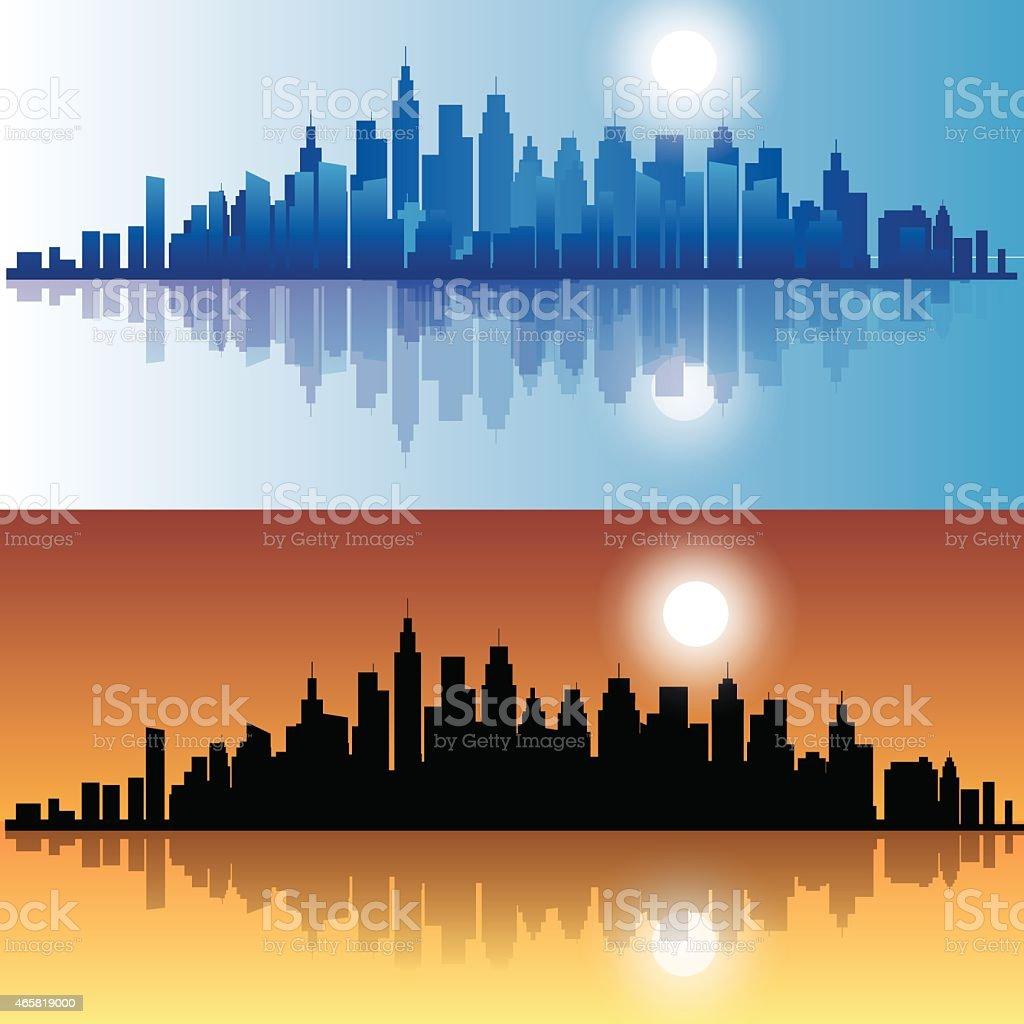 City at evening vector art illustration
