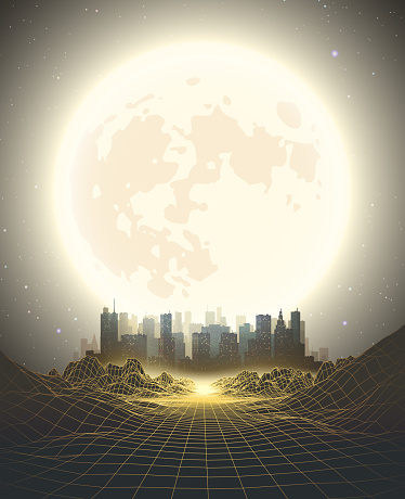1980s Style retro background with city and moon. Abstract futuristic background. Digital Landscape. Synthwave, retrowave style.