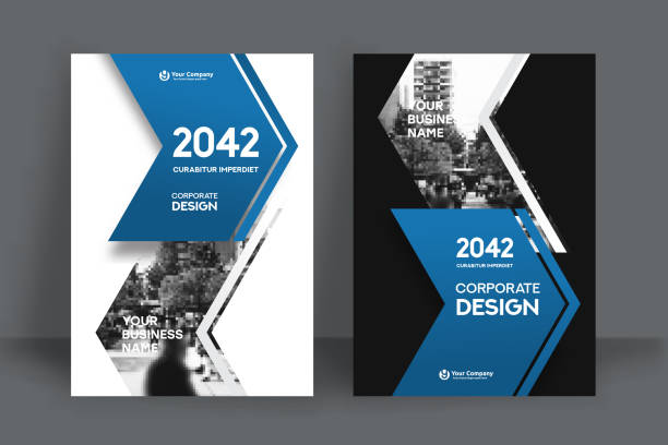 city background business book cover design template - annual reports templates stock illustrations