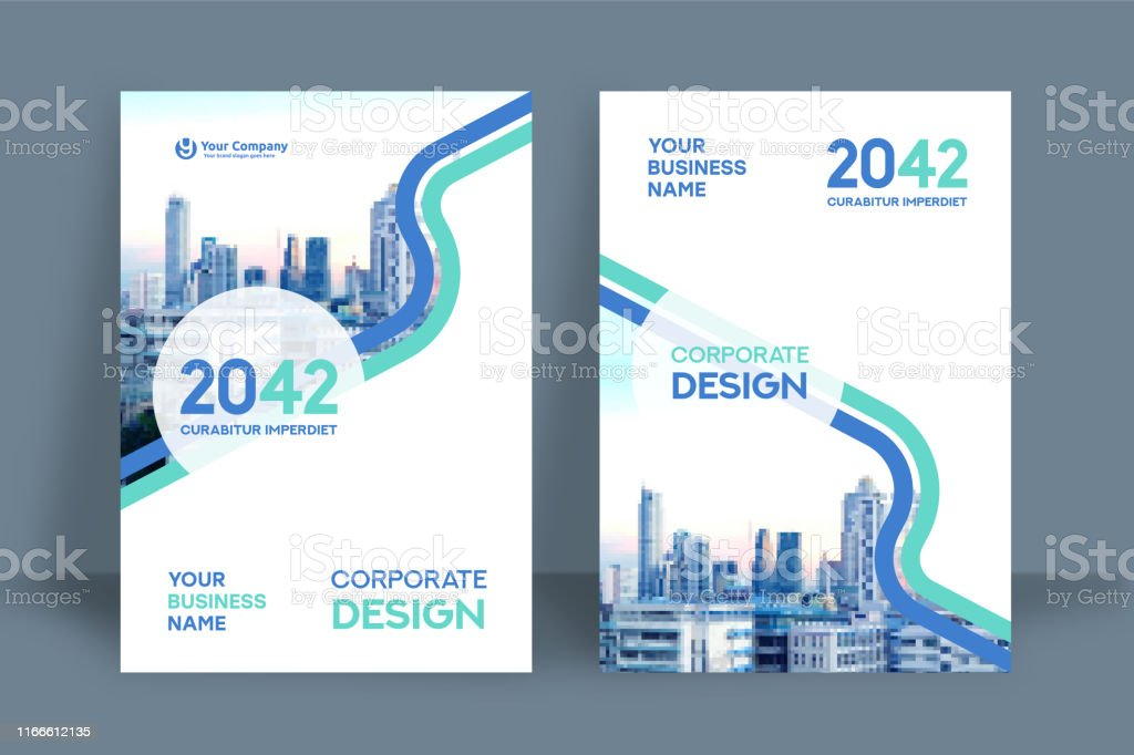 City Background Business Book Cover Design Template in A4. Can be...