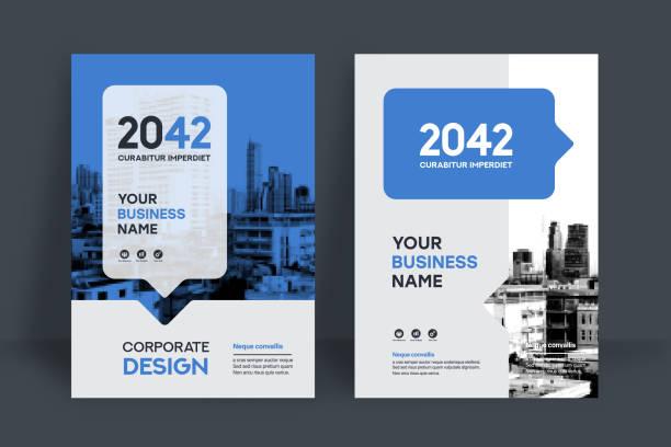 illustrazioni stock, clip art, cartoni animati e icone di tendenza di city background business book cover design template - newsletter