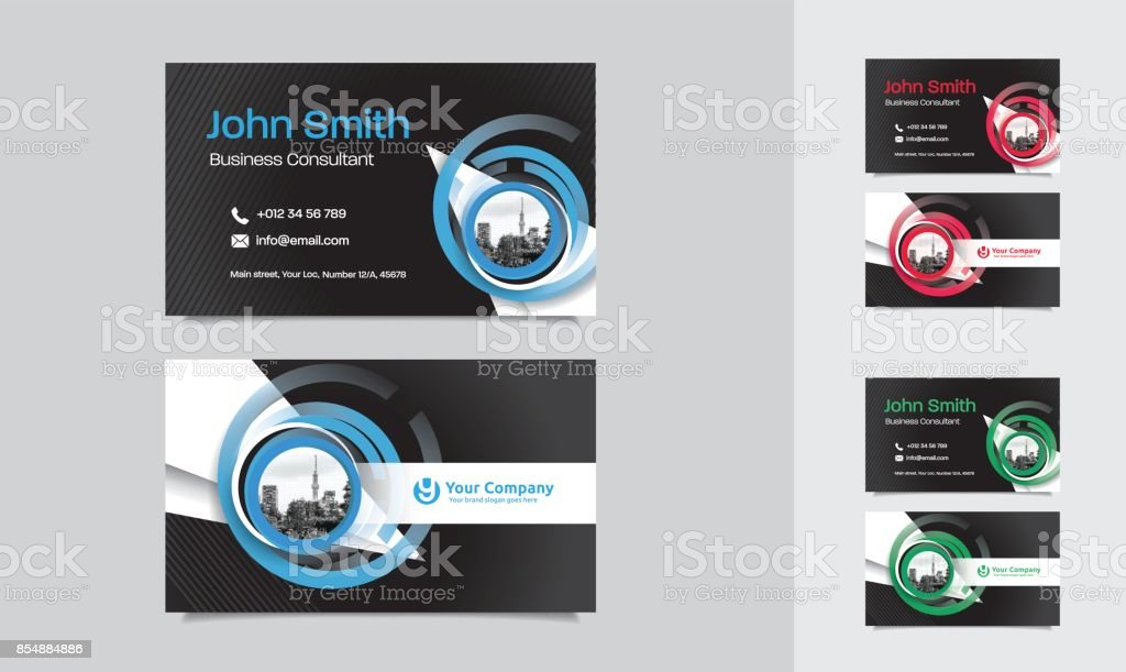 City Background Business Card Design Template Stock