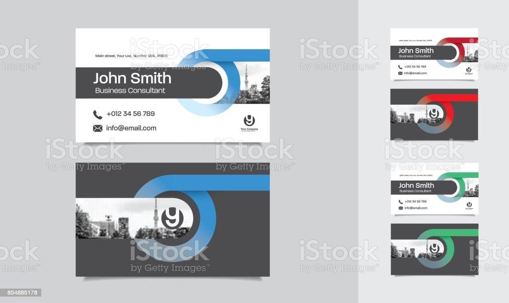 City Background Business Card Design Template stock vector art ...
