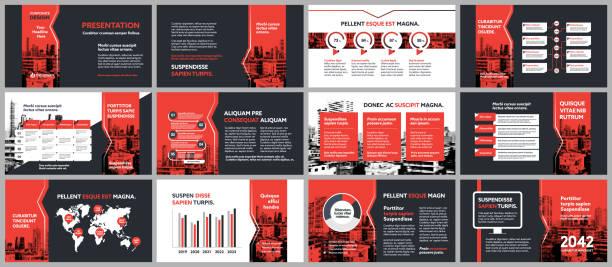 ilustrações, clipart, desenhos animados e ícones de apresentação da companhia do fundo da cidade com modelo de infographics. - mockup