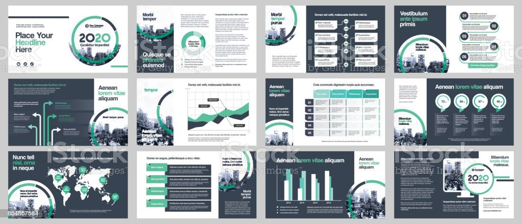 City Background Business Company Presentation with Infographics Template. - ilustração de arte vetorial