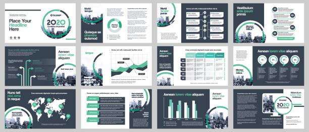 city background business company presentation with infographics template. - infographic templates stock illustrations, clip art, cartoons, & icons
