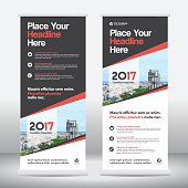 City Background Business Roll Up Design Template.Flag Banner
