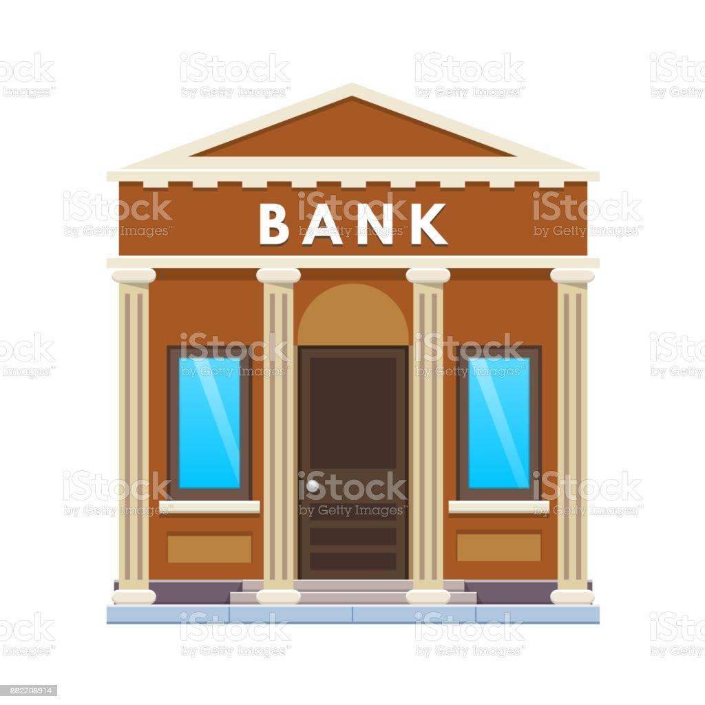 City bank building facade. Financial activity, customer service, deposits, partnership vector art illustration