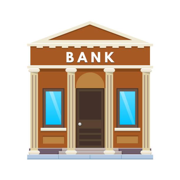 Şehir Banka Binası cephe. Finansal faaliyet, Müşteri Hizmetleri, mevduat, ortaklık vektör sanat illüstrasyonu