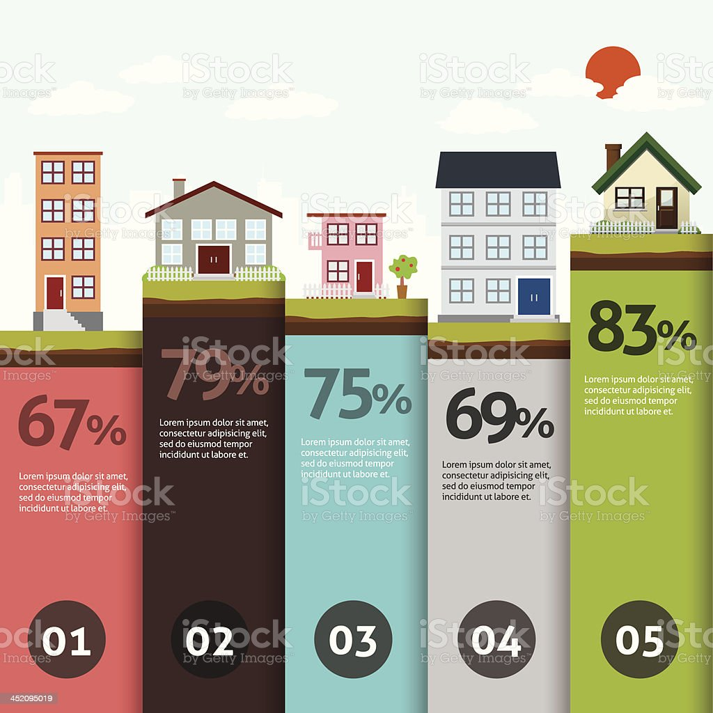 City bannner retro illustration with colorful icons infographics vector art illustration