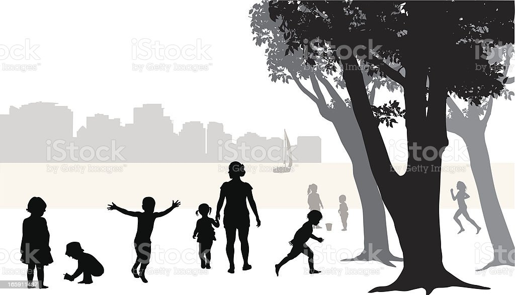City Beach Vector Silhouette royalty-free city beach vector silhouette stock vector art & more images of activity