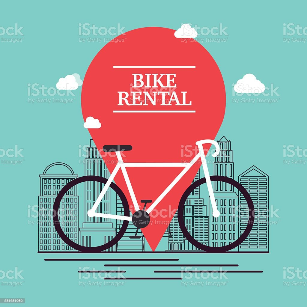City bike hire rental tours for tourists and city visitors. vector art illustration