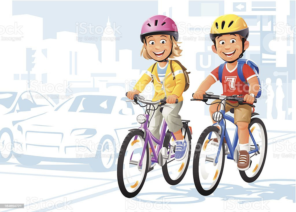 City Bikers vector art illustration