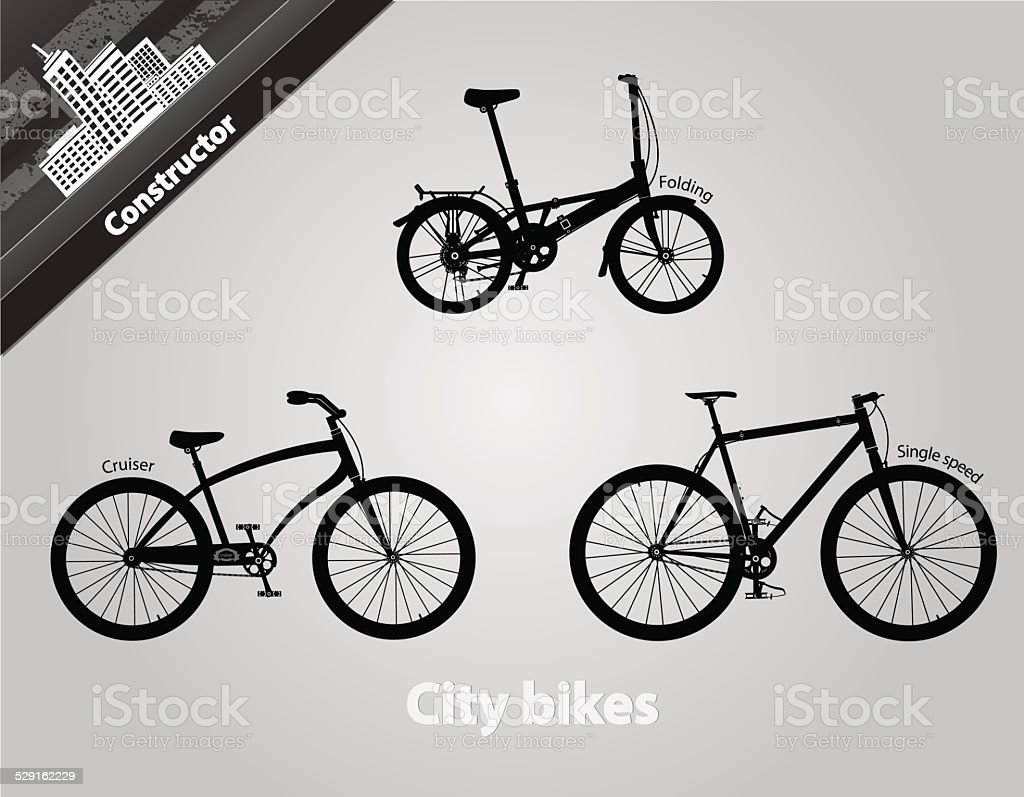 City bikes. vector art illustration