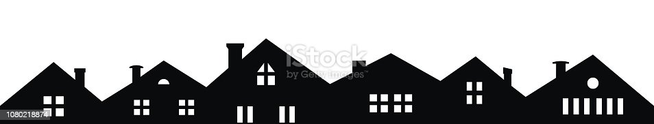 City, vector icon, black and white silhouette of houses. Buildings with smoke stacks and windows. A number of villas with a view from the front. Different types of windows and chimneys.