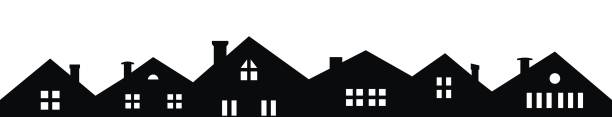 City,  black and white silhouette City, vector icon, black and white silhouette of houses. Buildings with smoke stacks and windows. A number of villas with a view from the front. Different types of windows and chimneys. residential district stock illustrations