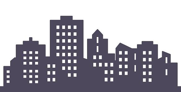 City, black silhouette of modern houses, eps.