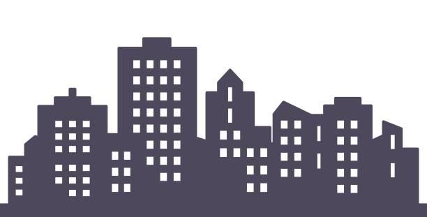 City, black silhouette of modern houses, eps. Black city, silhouette of modern high houses, vector icon. cityscape stock illustrations
