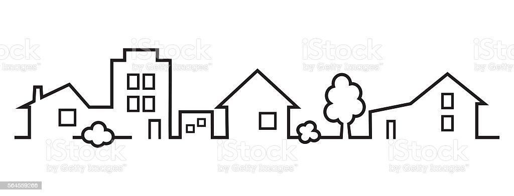 City, black silhouette vector art illustration