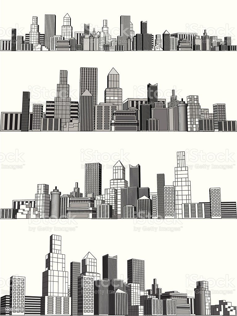 City blocks vector art illustration