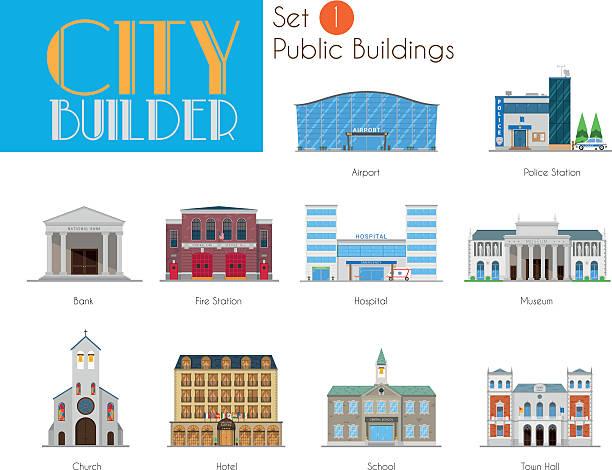 City Builder Set 1: Public and Municipal Buildings City Builder Set 1: Public and Municipal Buildings fire station stock illustrations