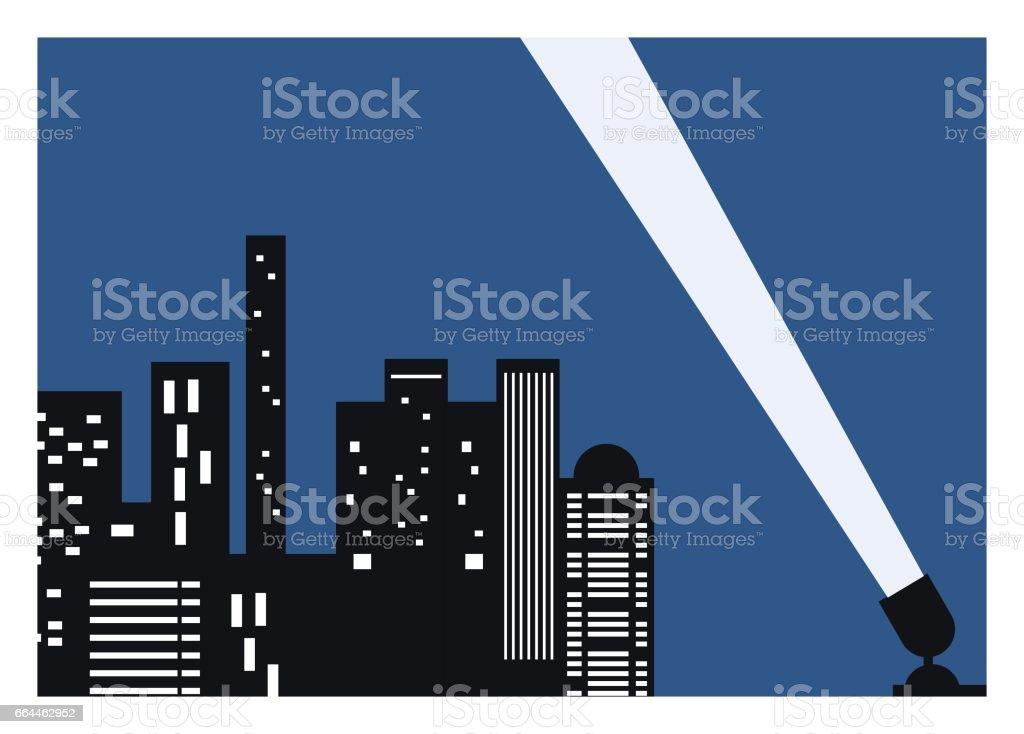 city building at night with spotlight vector art illustration