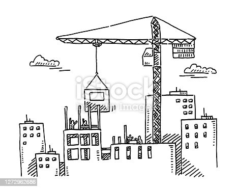 istock City Building Construction Site Crane Drawing 1272962686