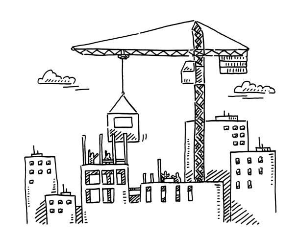 City Building Construction Site Crane Drawing vector art illustration