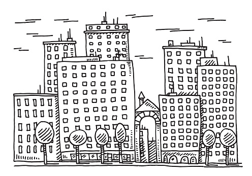 City Building Facade Drawing