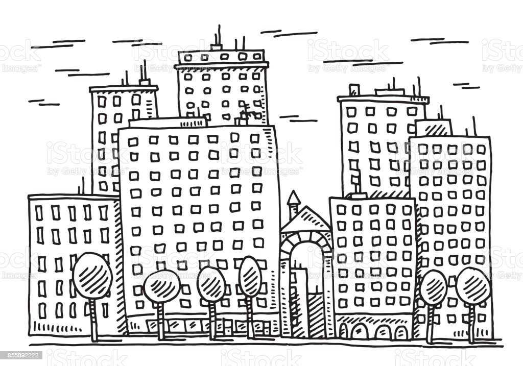 City Building Facade Drawing vector art illustration