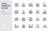 City building line icons set. Hospital, hotel, bank, mall, government hall, castle, police minimal vector illustrations. Simple flat outline sign for web, app. 30x30 Pixel Perfect. Editable Strokes.
