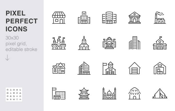 City building line icons set. Hospital, hotel, bank, mall, government hall, castle, police minimal vector illustrations. Simple flat outline sign for web, app. 30x30 Pixel Perfect. Editable Strokes City building line icons set. Hospital, hotel, bank, mall, government hall, castle, police minimal vector illustrations. Simple flat outline sign for web, app. 30x30 Pixel Perfect. Editable Strokes. building exterior stock illustrations