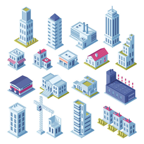 city buildings 3d isometric projection for map. houses, manufactured area, storage, streets and skyscraper building isolated vector set - blue clipart stock illustrations