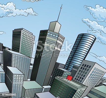 A city buildings cartoon pop art comic book style skyscraper background scene