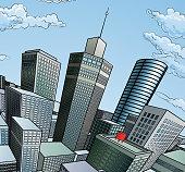 A city buildings cartoon pop art comic book style skyscraper background scene