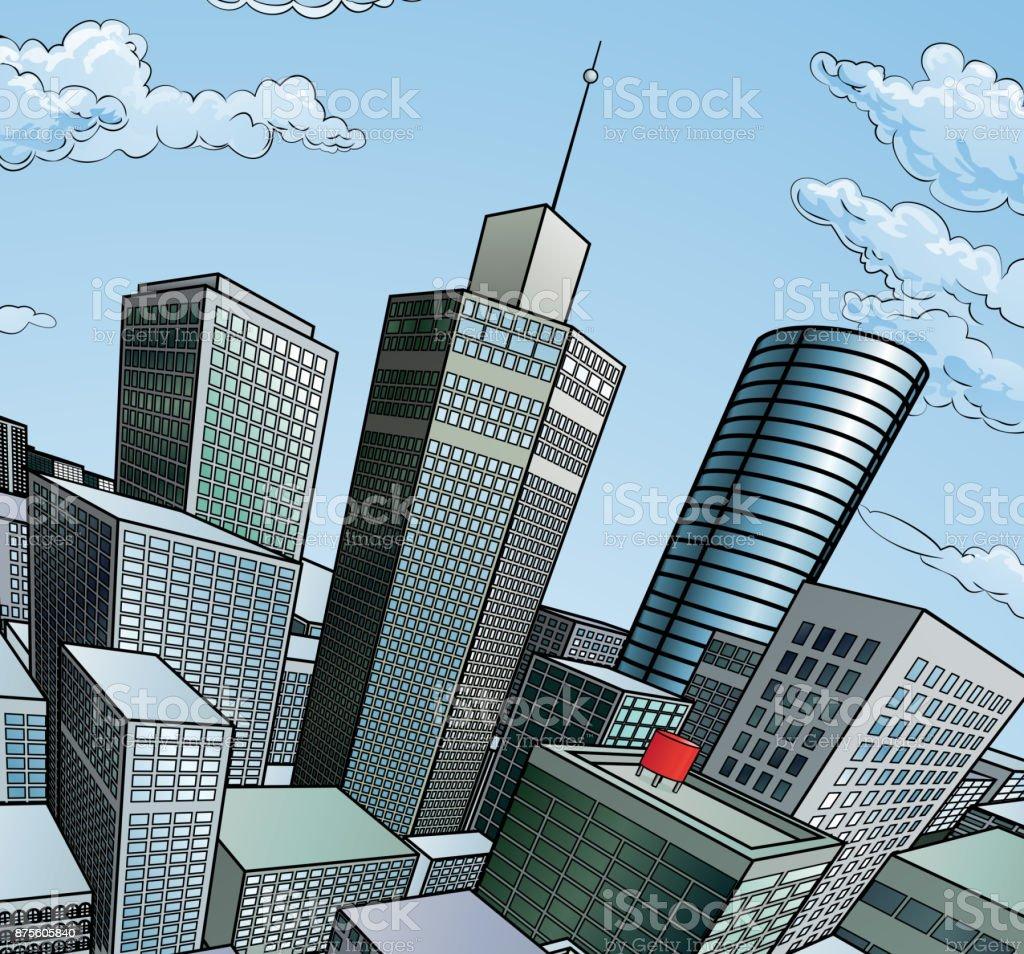 街の建物の背景 ベクターアートイラスト