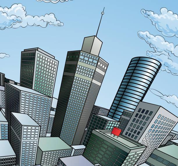 街の建物の背景 - 漫画の風景点のイラスト素材/クリップアート素材/マンガ素材/アイコン素材