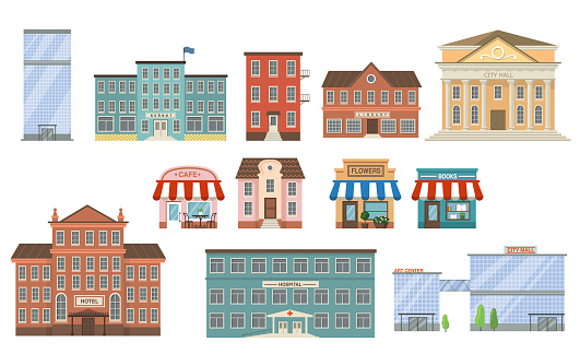 City buildings flat icon collection