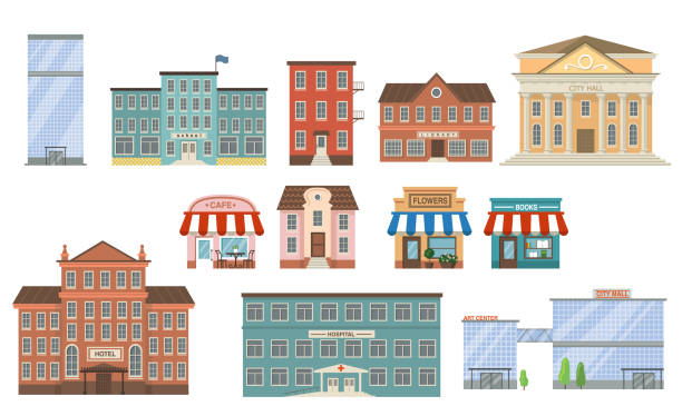 City buildings flat icon collection City buildings flat icon collection. School, bank, shop, apartments, office center, hospital, hotel, library, mall and city hall front view vector illustration set. Exterior and facade concept school exteriors stock illustrations