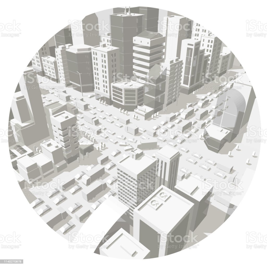 City Buildings In The Circle Background Street In Light Gray