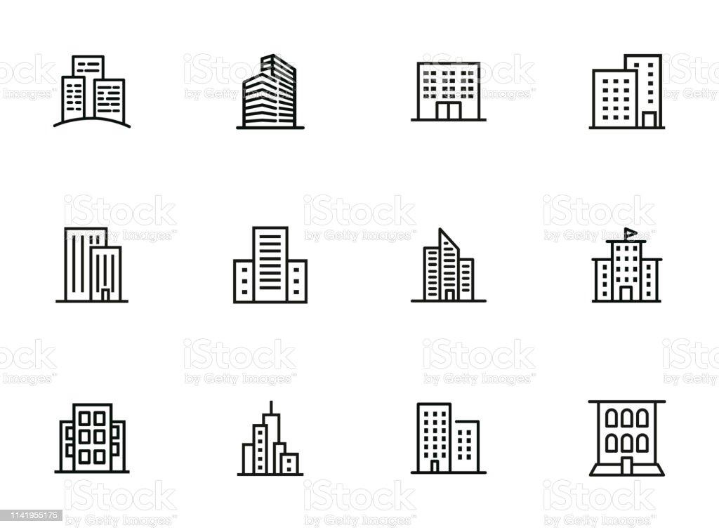 City buildings line icon set - Royalty-free Alto - Descrição Física arte vetorial