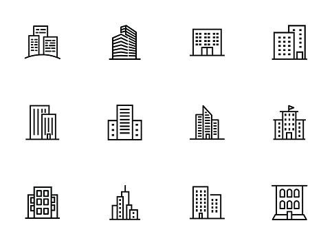 City buildings line icon set clipart